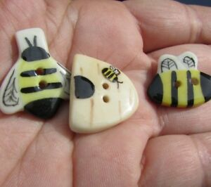 Hand Painted Porcelain Buttons Lot Realistic Bee Beehive Honey Comb Gorgeous