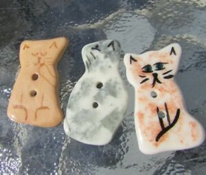 Hand Painted Porcelain Buttons Lot Realistic Cats Owl Figurative Large 1 25