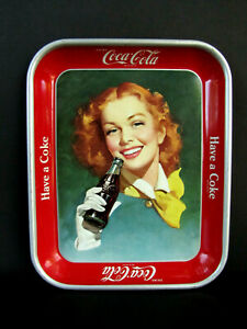 VINTAGE 1950'S COKE COCA-COLA SERVING TRAY RED HEAD WITH YELLOW SCARF