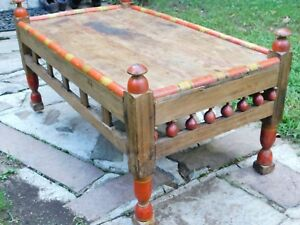 Antique Tea Cocktail Coffee Table Beautiful Rectangle Hand Carved Afgan 1910 S