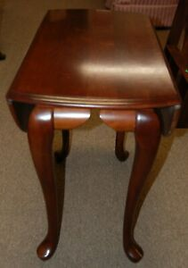 Solid Wood Cherry Oval Drop Leaf Accent Table From Estate Queen Anne Legs