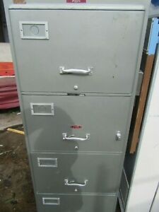 York Insulated Fire File 4 Drawer Fire Class C With Key Vintage File Cabinet