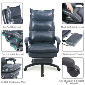 Ergonomic High Back Pu Leather Memory Foam Desk Chair With Retractable Footrest