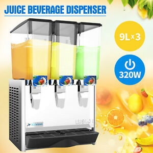 3 Largetank Commercial Juice Dispenser Cold Drink W thermostat Controller 320w