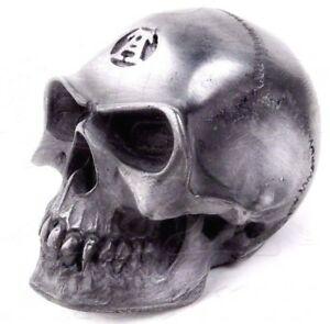 Alchemy Gothic Car Manual Gear Shift Knob Alchemist Badass Skull Silver Resin V3