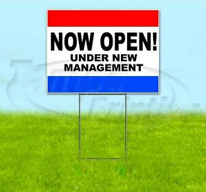 Now Open Under New Management 18x24 Yard Sign With Stake Corrugated Bandit Usa