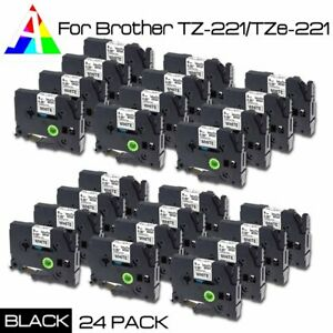 24x Tz 221 Label Tape For Brother P touch Black On White Tape 9mm Tze221