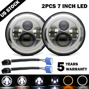 Dot 7 Inch Round Led Headlights Halo Pair Kit Hi low Beam For Vw Beetle Classic