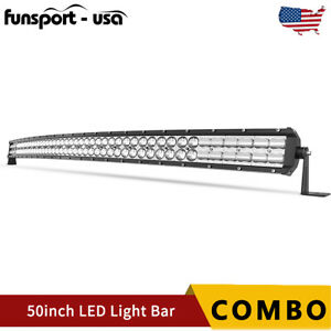 Curved 50inch 700w Led Light Bar Flood Spot Roof Driving Truck Rzr Suv 4wd 52