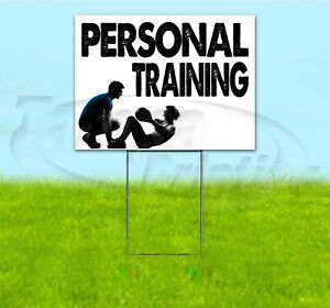 Personal Training 18x24 Yard Sign With Stake Corrugated Bandit Business Fitness