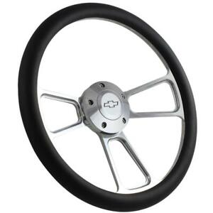 1995 2002 Chevy Full Size Truck Steering Wheel Kit Black Vinyl Polished Billet