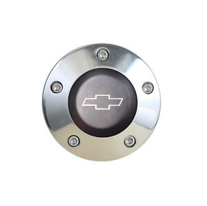 Laser Engraved Polished Billet Horn Button With Black Chevy Bowtie Logo