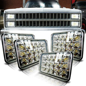 4pcs 4x6 Led Headlights Hi lo Sealed Beam Bulb Headlamps For Chevrolet Camaro