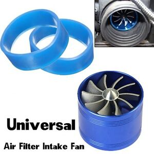 Suv Single Supercharger Turbo Charger Air Filter Intake Fan Fuel Gas Saver Blue