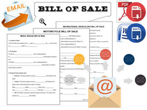 Bill Of Sale Forms Email Digital Delivery Pdf Docx Format