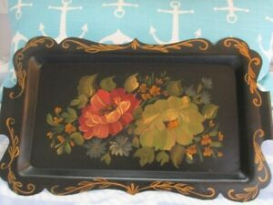 Antique Hand Painted Muted Lemon Yellow Coral Roses Vintage Black Tole Tray