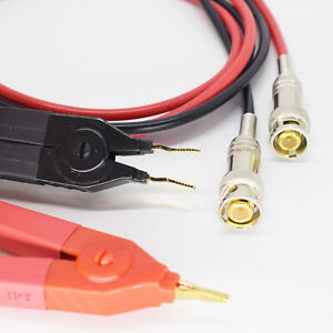 1pair 1 2m 4ft Bnc Male To Kelvin Clip For Lcr Meter Probe Test Cable R b