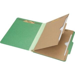 Skilcraft Classification Folder 6 part Letter Green 10 box nsn6006983