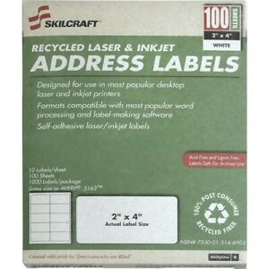 Skilcraft Printer Shipping Labels 2 x4 10 Labels sht 100 Sht bx we nsn5144903