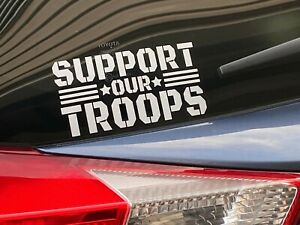 Support Our Troops Grey Vinyl Decal Indoor Outdoor Sticker Choose Size