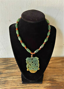 Vintage Chinese Carved Green Jade Carnelian Bead Necklace Pendant Hong Kong