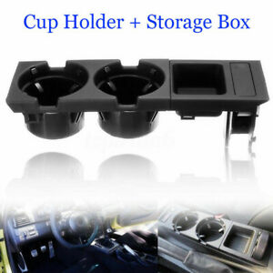 For Bmw E46 3 Series Center Console Storage Box Coin Drink Cup Holder Black