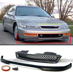 Fits 96 97 Accord 2 4dr T r Style Front Bumper Lip Jdm Glossy Black Mesh Grille