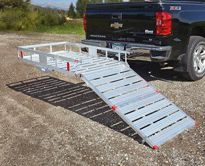 Hitch Cargo Carrier Aluminum With Ramp Folding Haul Truck Suv Mount Transport Hd