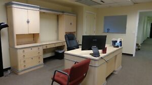 Office Furniture Set Desk Cabinets Chairs As Pictured
