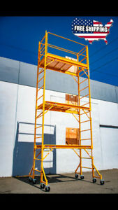 18ft Baker Perry Style Scaffold W guard Rail outriggers W Climb Thru Platforms