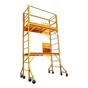 12 Ft Baker Style Scaffold W guard Rail outriggers Painting Drywall Scaffolding