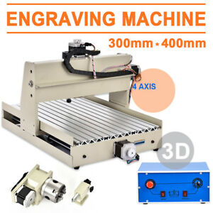 3040 4 Axis 3d Router Engraver Engraving Machine Woodworking Milling Cutter 110v