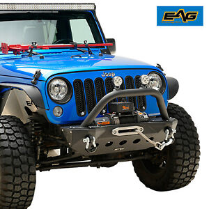 Eag Front Bumper Stubby With Skid Plate Fit 07 18 Jeep Wrangler Jk Rock Crawler
