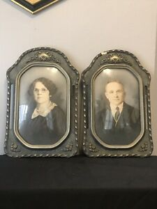 Rare Pair 2 Antique Convex Bubble Glass Ornate Unique Wood Picture Frames Blue
