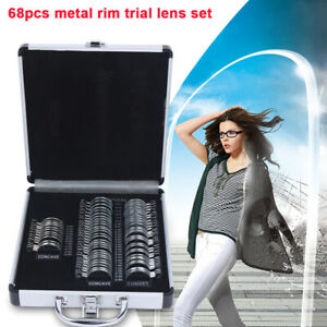 68pcs Metal Rim Trial Lens Set Optometry Optical Instrument W aluminium Case New