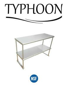 Stainless Steel Commercial Kitchen Over Shelf 2 Layer Rounded Corner 18 X 96