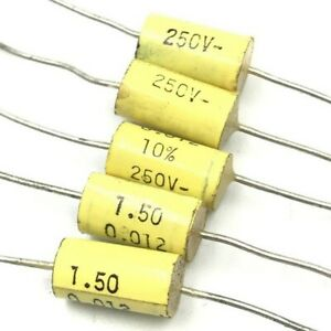 0 012uf 12nf 250v Axial Capacitor Arcotronics Qty 5