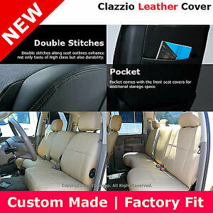 Clazzio 1st 2nd Row Leather Seat Cover Tan 06 09 Dodge Ram Quad Rear 60 40