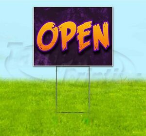 Open 18x24 Yard Sign With Stake Corrugated Bandit Usa Business Barbecue