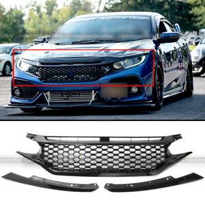 For 16 18 Civic Coupe Sedan Hatch Gloss Black Honeycomb Style Front Hood Grille