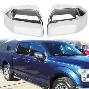 For 15 19 F 150 Ford Direct Mirror Cover Skull Cap Replacement Chrome Set Of 2