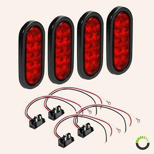 4pc Red Trailer 6 Oval Truck Lights Led Sealed Stop Turn Tail Marine Waterproof
