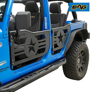 Eag Tubular Door Military Armor With Mirror Fit For 07 18 Jeep Jk Wrangler 4dr