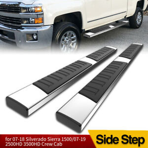 For 2007 2018 Silverado sierra Crew Cab 6 Chrome Ss Running Board Side Step Bar
