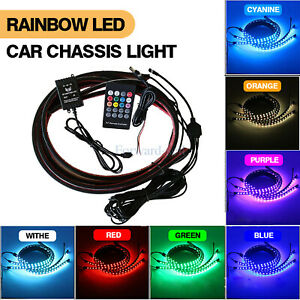 4x 7 Color Led Strip Under Car Tube Underglow Underbody System Neon Lights Kit