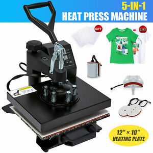 5 In 1 Heat Press Machine Swing Away Digital Sublimation T shirt Mug plate Hat