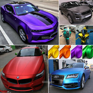 Stretch Car Modify Satin Matte Chrome Metallic Vinyl Wrap Sticker Bubble Free Us