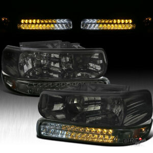 For 1999 2002 Chevy Silverado 2000 2006 Tahoe Smoke Headlights led Bumper Lights