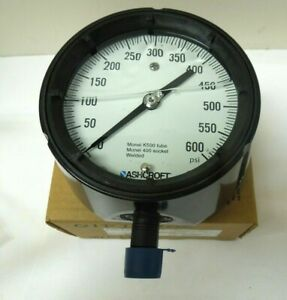 Ashcroft Gauge 4 1 2 Face 0 600 Psi 1 2 Npt Monel K500 Duragauge