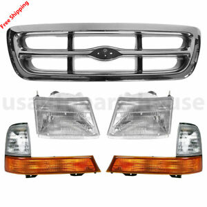New For Ford Ranger Fits 1998 2000 Chrome Grille Parking Light Headlight Set 5pc